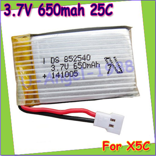 Wholesae 10pcs/lot 3.7V 650mAh Lipo Battery For Syma X5C X5 /syma X5c Upgraded