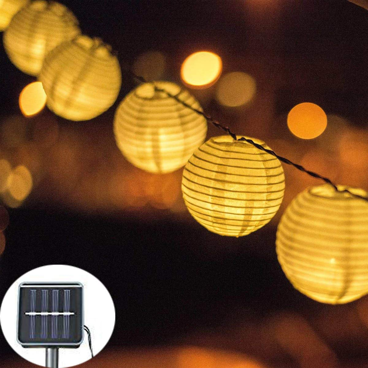 ibdone Solar LED Lanterns String Lights, 16.4Ft 5M 20 LED Waterproof Outdoor Decorative Stringed LED String Lights Lanterns for Party,Christmas,Garden,Patio,Halloween, Decoration (Warm White)