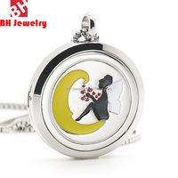 30MM Fair in the moon Essential Oil diffusing necklace with colorful oil Pendant Supplier China