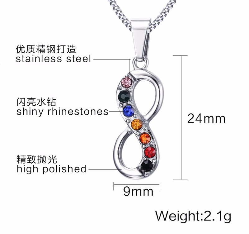 The European And American Fashion Jewelry Titanium Steel Necklace Stainless Steel Color Diamond Infinity Pendant