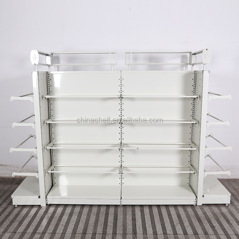 New design double side supermarket glass shop shelf