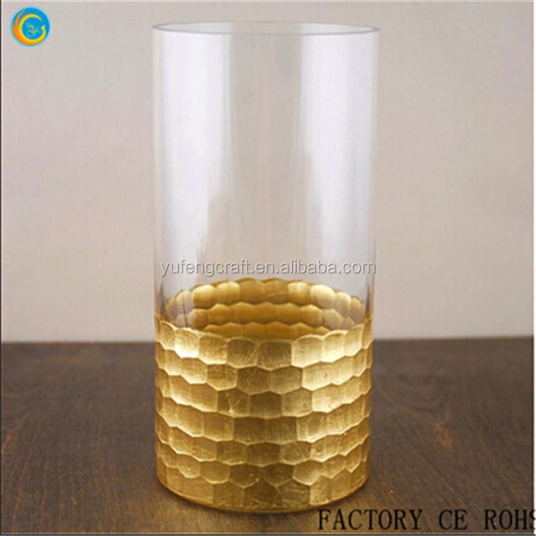 Petesdal Gl Cylinder Gold Hurricane Candle Holder Vase Glware For Wedding Home