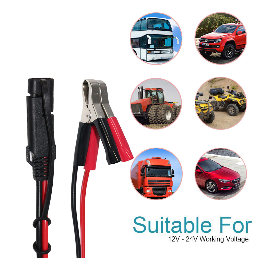 Automotive engine battery charger with 15A fused SPT-2 16AWG red and black Alligator Clips Booster Jumper Car Battery Cable