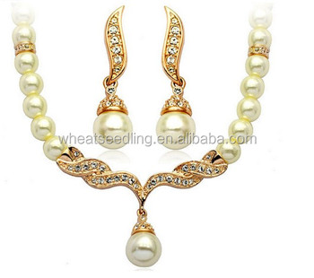 Pearl Bridal Jewelry Sets Cream Rhinestone Rose Gold Crystal