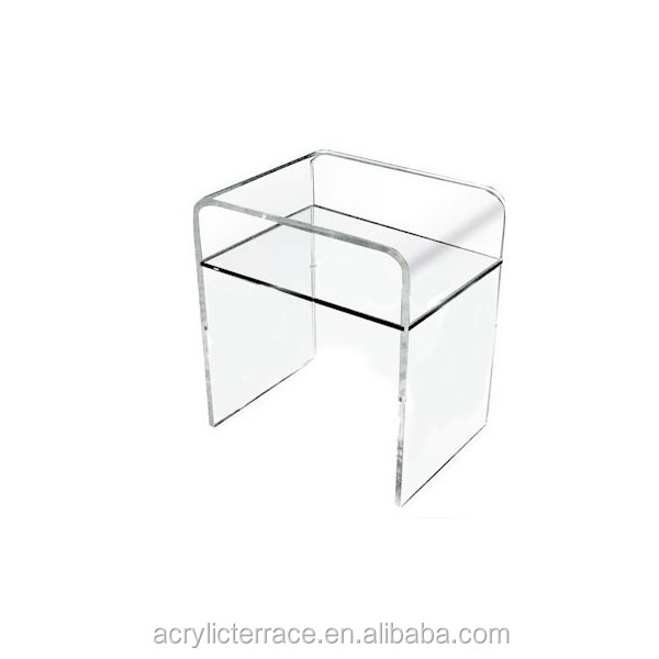 Simple Et Elegant Transparent Transparent Acrylique Perspex Lucite Table De Chevet 33x33 H 45 Avec Etagere Buy Table D Appoint En Acrylique