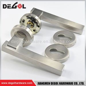 Wholesale china stainless steel tube type room brushed flat door handle with plate