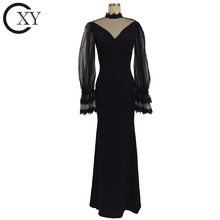 Customize Women Elegant Long Sleeve Floor Length Black Special Occasion Dresses