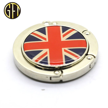 Best Selling products 2017 in usa custom England logo metal gift items foldable handbag hanger with epoxy