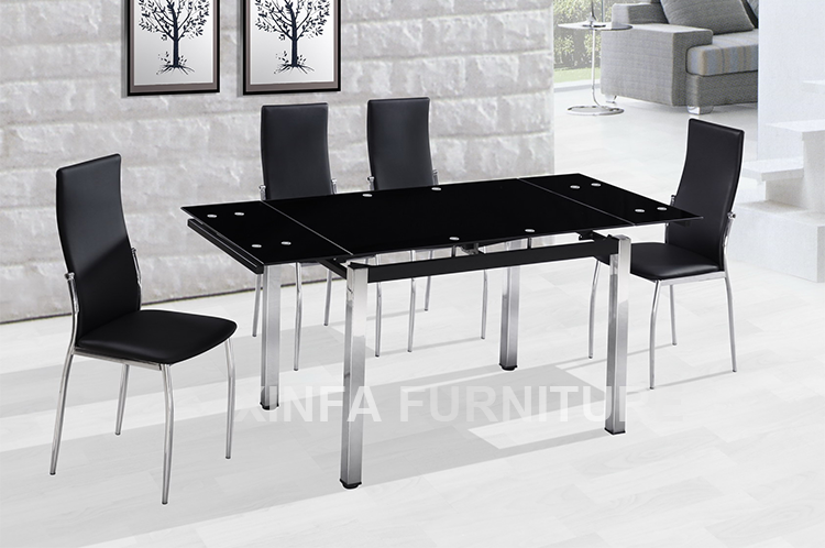 Cheap Sale Popular Black Tempered Glass Top Extendable Dining Tables Buy Dining Table Cheap
