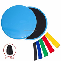 Gliding Discs Core Sliders and 5 Exercise Resistance Loop Bands Double-sided Sliding Discs