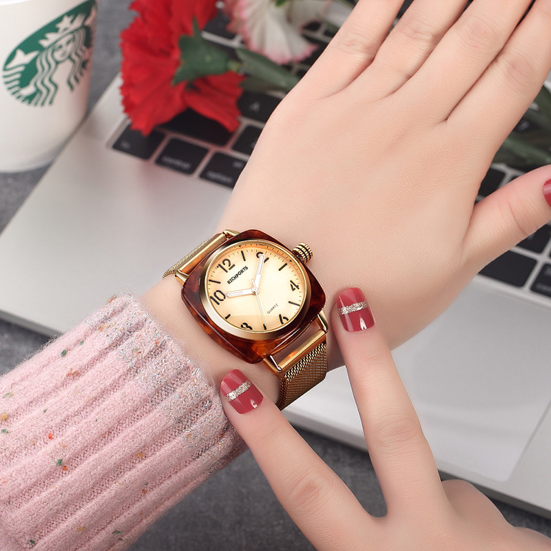 Digital Scale Waterproof Square Women's Style Fashion Watch Leopard Print Square Plastic Shell Dial Watch