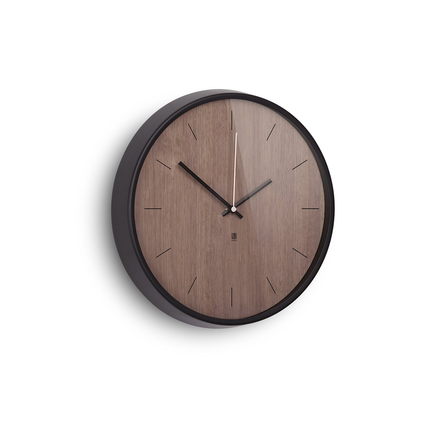 Umbra Madera Wall Clock, Walnut/Black