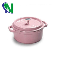 pink rice cooker, cast iron pink cooking pot, pink cookware