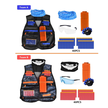 Pack Kids Tactical Vest Kit Compatible with Elite Series, with 80 Pcs Refill Darts, 2 Reload Clips,