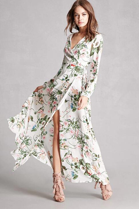 Hot sale womens dresses spring summer 2017 floral dress wrap maxi casual dress