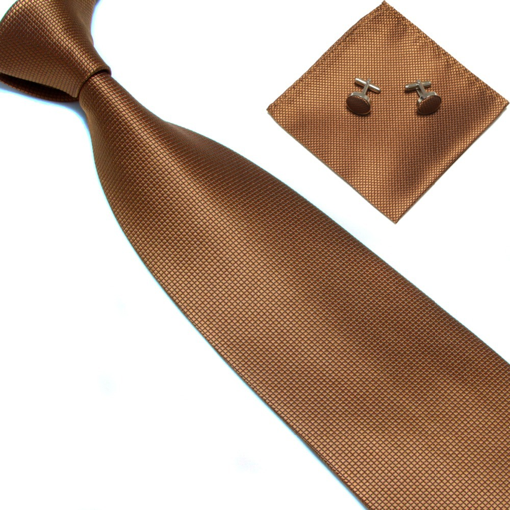 38f36a735083 Get Quotations · silk solid Brown Men plaid neck tie set cufflik pocket  square business wedding checked hanky tie
