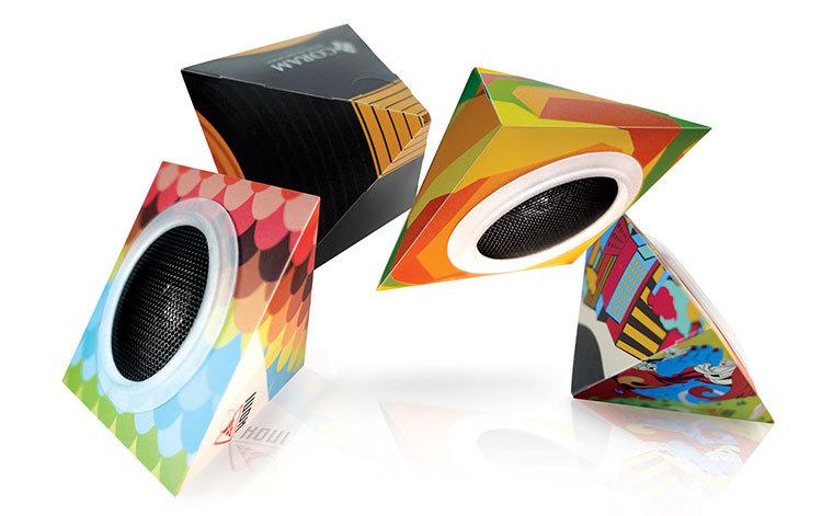 Unique Speakers hot selling unique design cardboard foldable speaker with full