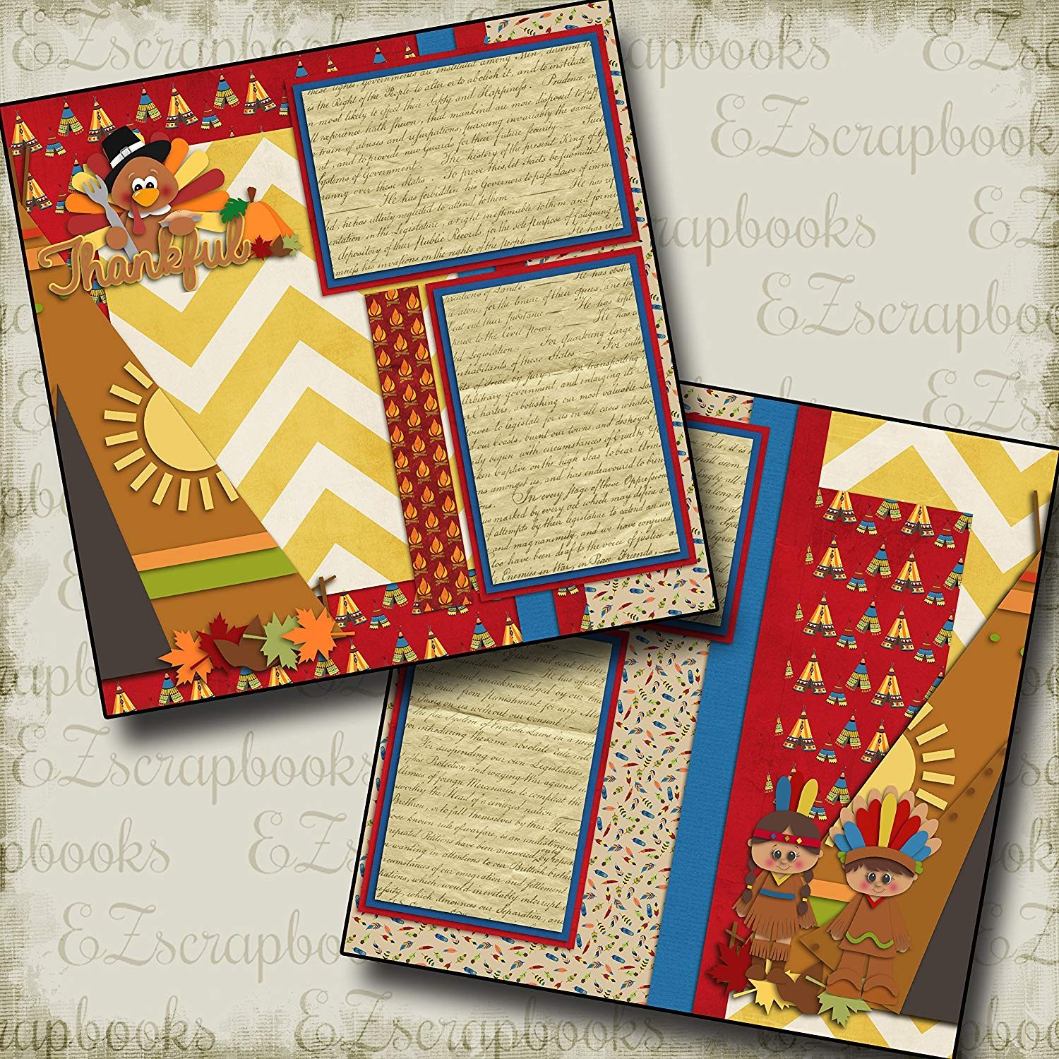 THANKSGIVING - Premade Scrapbook Pages - EZ Layout 857