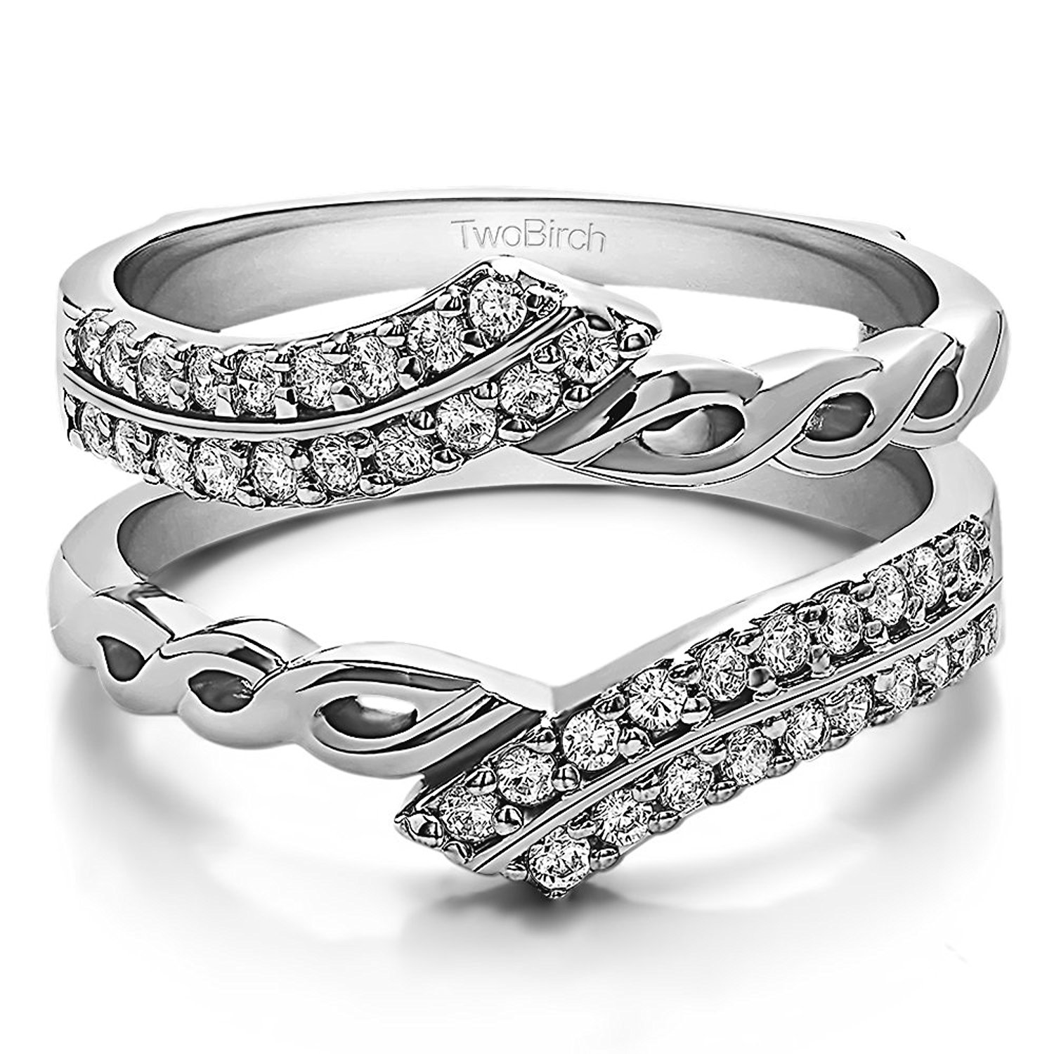 TwoBirch .38CT White Sapphire Double Row Infinity Ring Guard Enhancer 18k White Gold (3/8CT)(Size 3-15,1/4 Sizes)