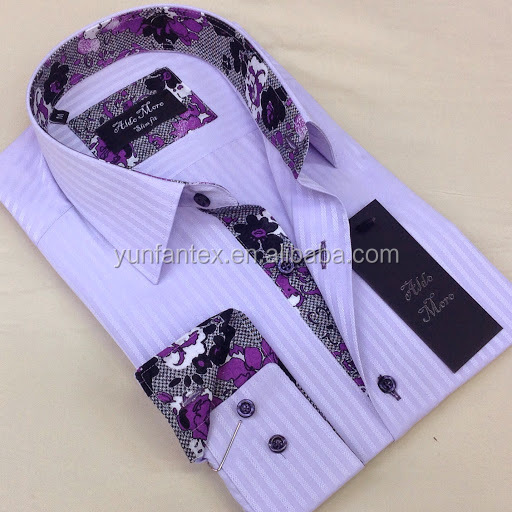 2015 italian fashion poplin cotton stripe cheapest printed for Mens dress shirts with different colored cuffs and collars