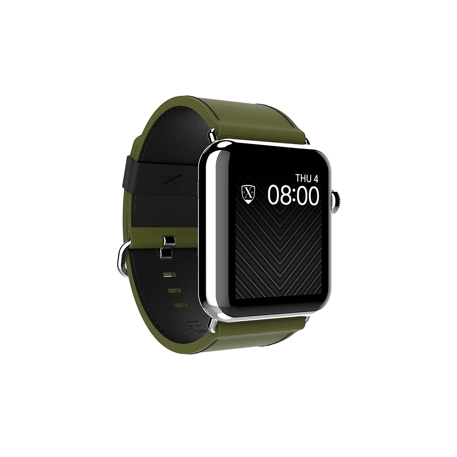 Luxeora Strap for Apple Watch - Luxeora Bravo Nylon Leather Band with Polished Stainless Steel Buckle - 42mm - Spec-Op Green and Black - Fits Series 3 Series 2 Series 1 Sport and Watch Edition