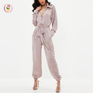 pink utility satin jumpsuit zip front tie waist long sleeve loose turn down collar office ladies sexy women jumpsuits
