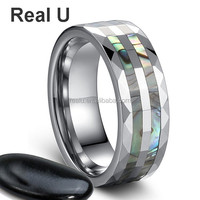 Brand New Fashion Jewelry Women's Tungsten Ring with Shell Inlay