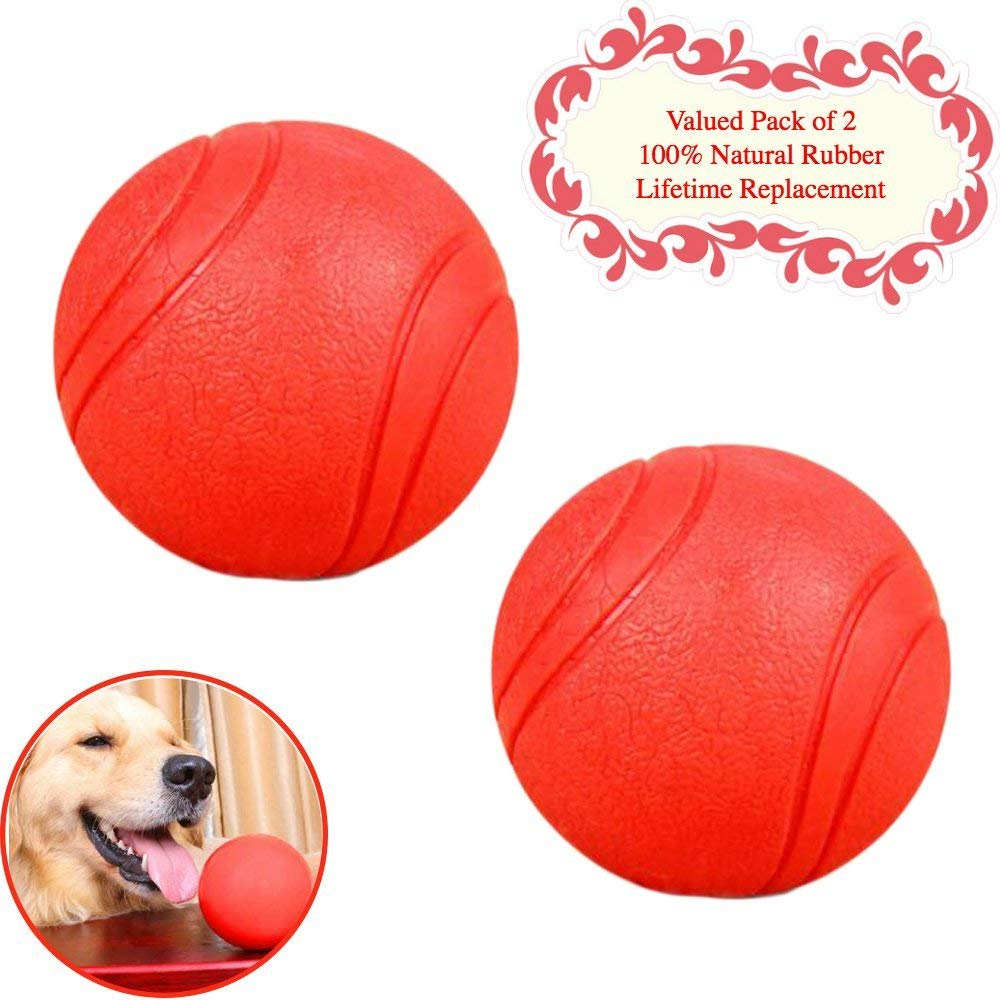 Bojafa Puppy Small Medium Large Dog Toys Balls Solid (!Lifetime Replacement Guarantee! 2 Pack) Rubber Indestructible Durable Tough Dog Chew Toys Gift Aggressive Chewers
