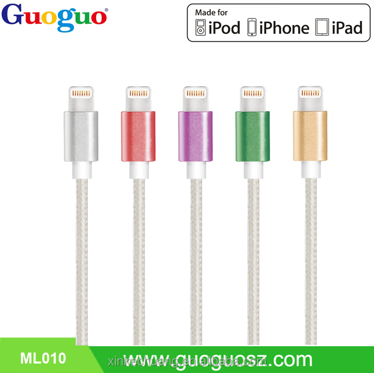 Customized Cable Wire Original 8 Pin MFI Certified Nylon Braided Charging Cable for iPhone 6 6s 6Plus 5s
