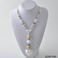 Latest design beads necklace pearls crystal necklace heart pendant necklaces