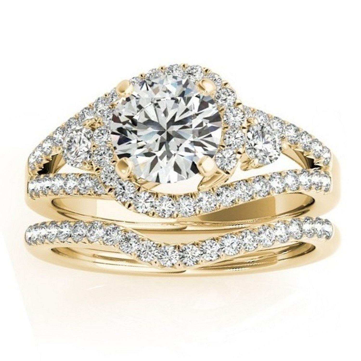 Halo Diamond Engagement Ring Setting and Contour Wedding Band Bridal Set in 14k Yellow Gold 1.00ct