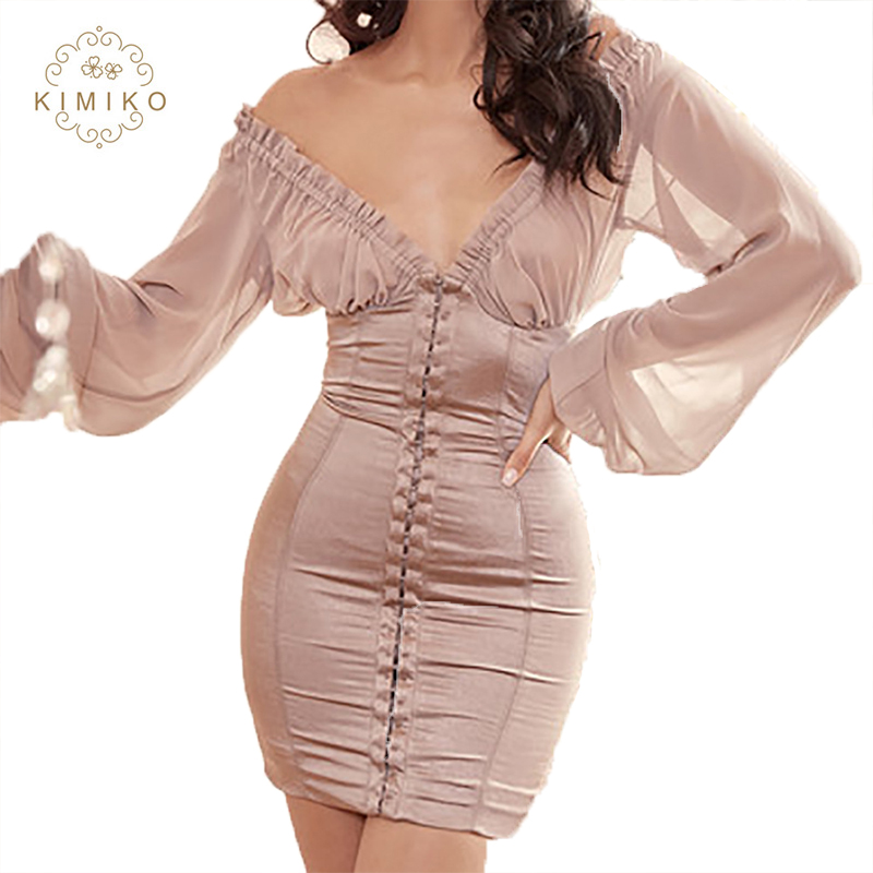 Victoria Style Deep V Neck Long Lantern Sleeves Bodycon Mini Dress For Women