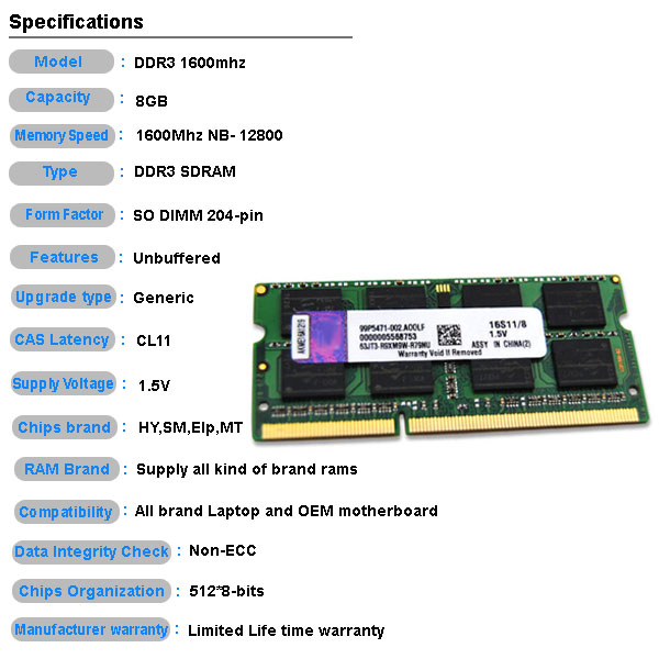 High access GHT 1600mhz pc3-12800 8gb ddr3 sodimm laptop memory kit