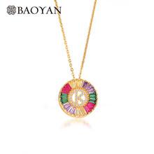 Baoyan, Радужное Кристальное A-Z ожерелье с надписью, золотое покрытие, медь, латунь, персонализированное ожерелье с надписью для женщин(Китай)