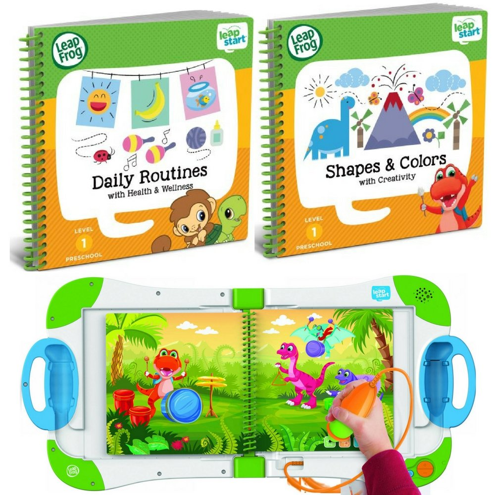 LeapFrog LeapStart Interactive Learning System Level 1 Preschool and Pre-Kindergarten for Kids Ages 2-4, With 2 Leap Start Books Learning Shapes & Colors And Daily Routine Health & Wellness Bundle Set