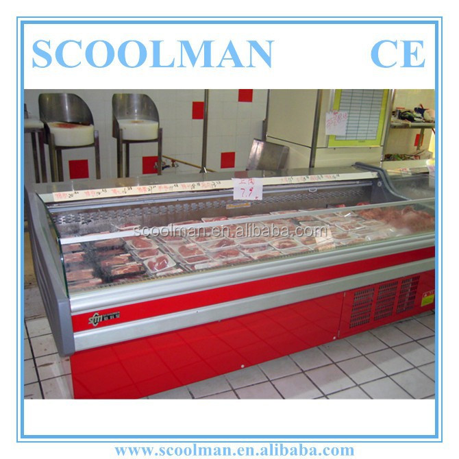 Open Type Butchery Meat Freezer with Air Curtain