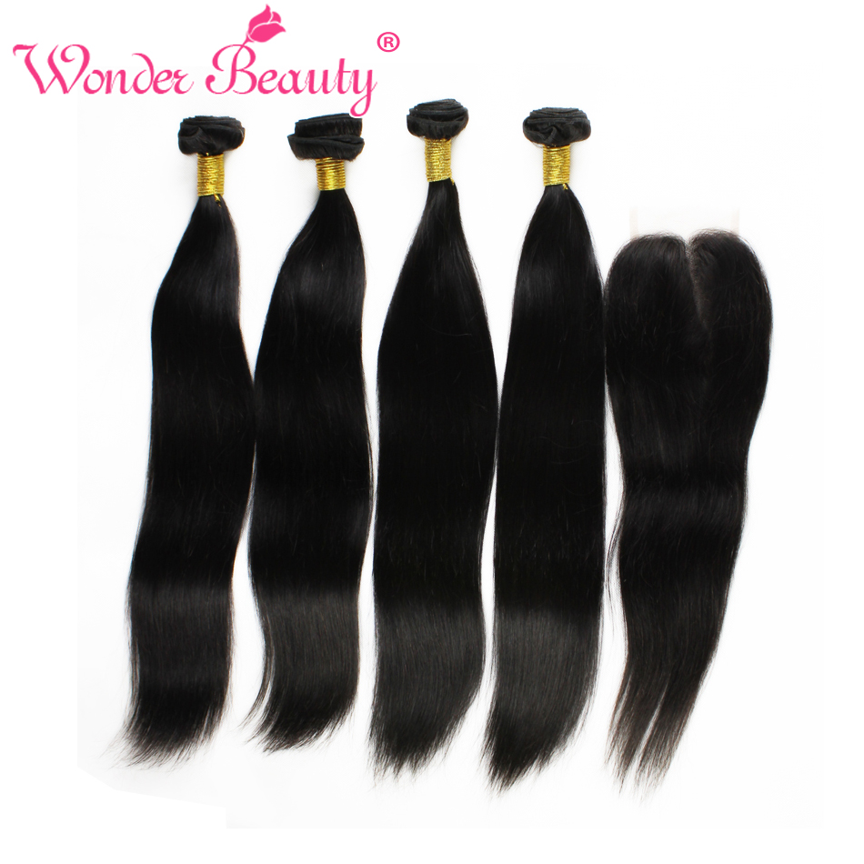 Unprocessed Indian Remy Hair With Closure Straight Silk 4bundles With Lace Closure 100 Real Indian Human