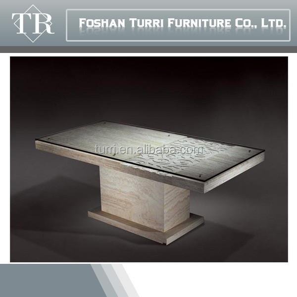 Mano de lujo tallado incrustaciones de marmol travertino for Produttori tavoli