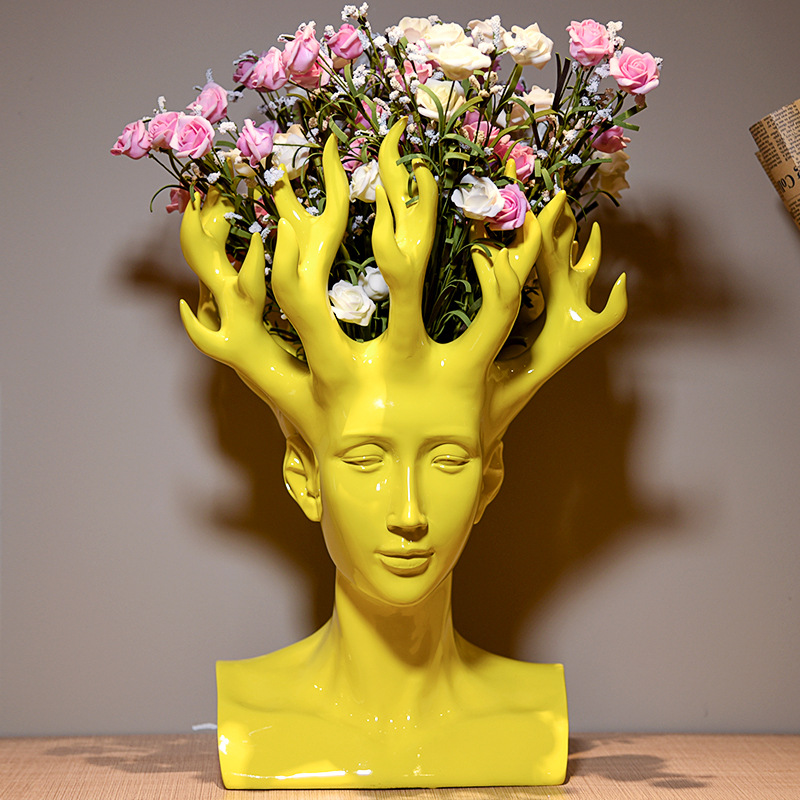Home decorative high value collection glossy color human head resin flower vase for wholesale