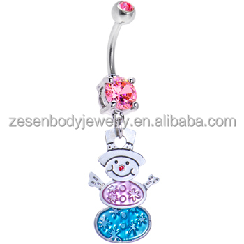 Sexy cheap wholesale pink crystal snowbaby shape 316L stainless steel chain dangle belly ring navel piercing body jewelry