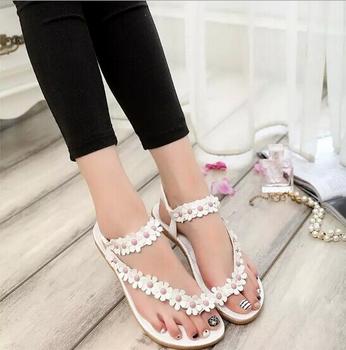 877b37d4e65 New products wholesalers china women shoes fashion footwear pu leather  sandal flower flat ladies chappal
