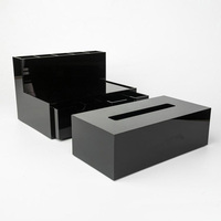 Custom Black Acrylic Makeup Tools Box Cosmetic Holder Perspex Tissue Box