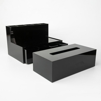Custom Black Acrylic Makeup Tools Box Cosmetic Holder Perspex Tissue