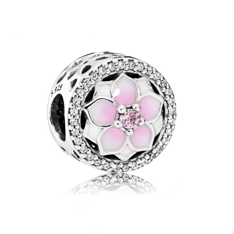 S925 Sterling Silver New Design Magnolia DIY Large Hole Beaded Jewelry <strong>Accessories</strong> finding For Teenagers