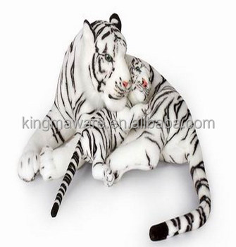 Realistic Plush White Tiger Mother And Baby Lifesize Stuffed Tiger