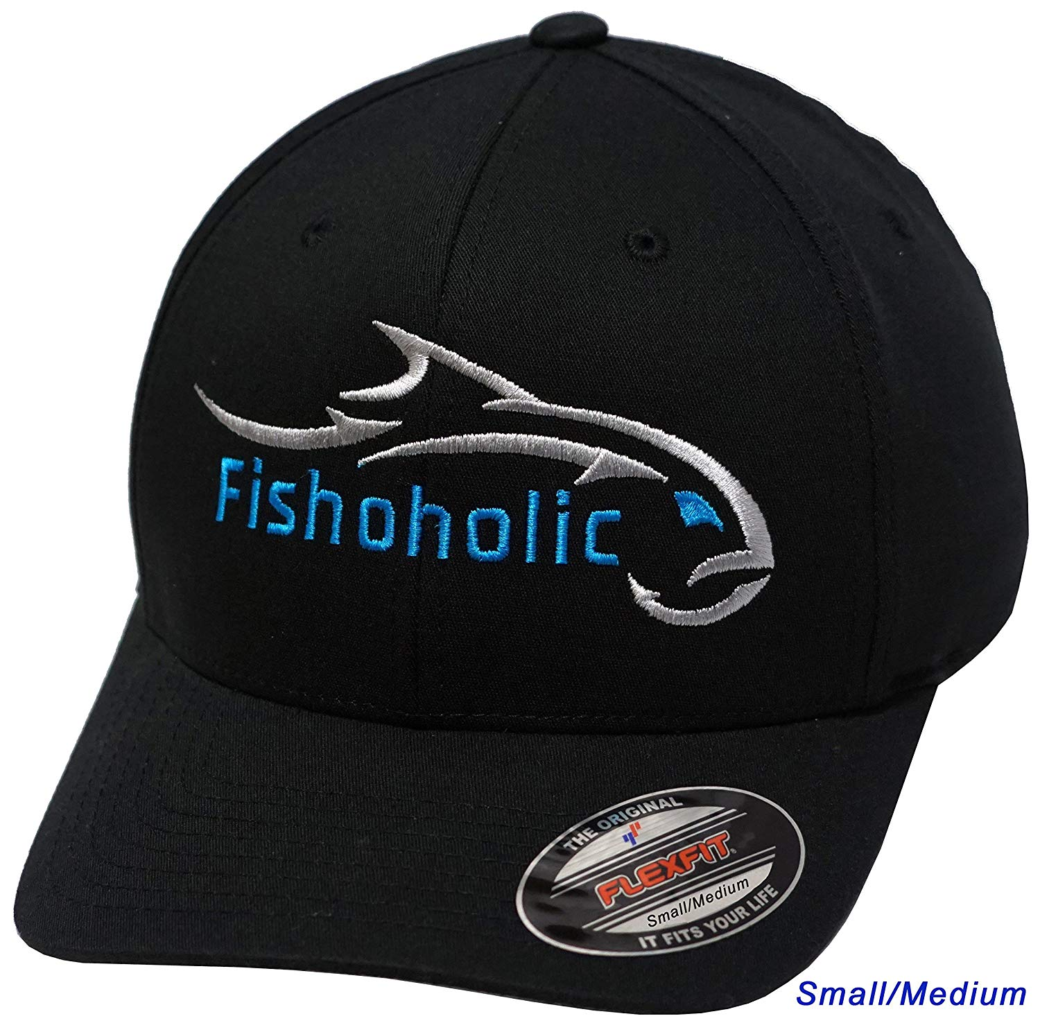 Fishoholic Flexfit Black Baseball Fishing Hat w' Silver & BLUE Embroidery Front & Back. Small/Medium. Great Gift. Fishaholic USPTO Registered (R) Trademark. (FF-blk-SlvBLUE-S/M)