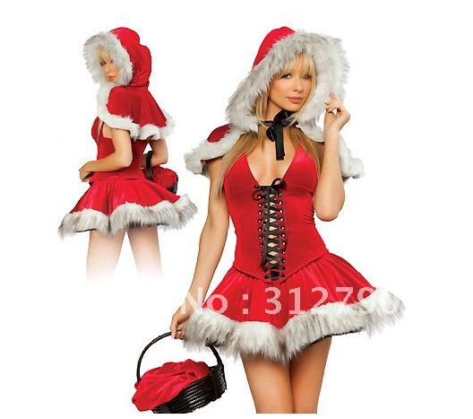 8ceb70ac81a New arrival Free shipping by EMS faux fur red sexy christmas dress costumes  cosplay women party dress gift 2sets lot
