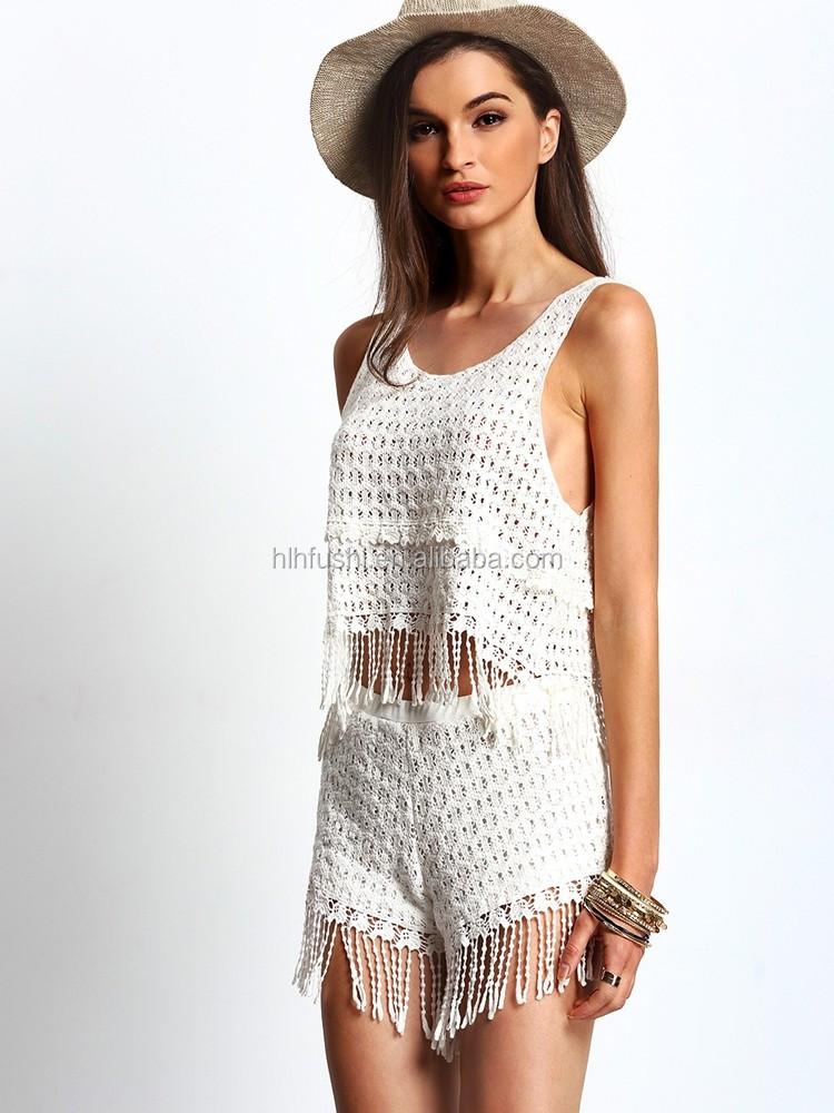 Летом один набор кружева майка и короткие штаны для женщин Оптовая продажа, изготовление, производство