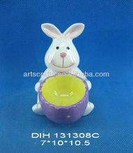 Easter bunny with ceramic egg cup decoration