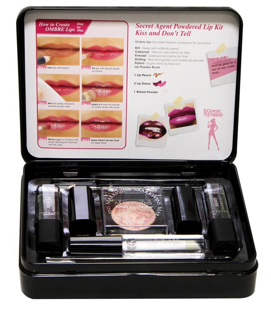 License to Thrill Secret Agent 7 Piece powdered lip kit with metal Case - Kiss and Don't Tell